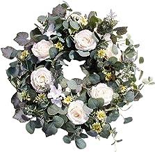 "Baoblaze Eucalyptus Wreaths, Front Door 22"" Large Green Leaves Wreath for Spring Summer, Outdoor Greenery Floral Wreath Wa..."