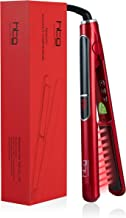 HTG Professional Flat Iron with Infrared and Ionic Hair Straightener 1 inch Ceramic Tourmaline Plates LCD Display Dual Voltage for All Hair Types for Shinny Hair 2 in 1 Straightening&curling Flat Iron