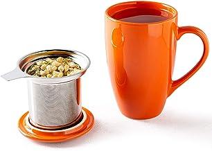 Mug Cup Porcelain Coffee Mug Tea Cup with Strainer Lid Flowers 480 ML