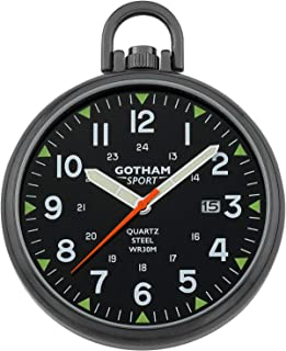 Gotham Men's Sport Series Gun-Plated Stainless Steel Analog Quartz Date Pocket Watch # GWC14109BBK