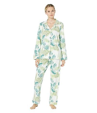 BedHead Pajamas Long Sleeve Classic Notch Collar Pajama Set (Island Palm) Women