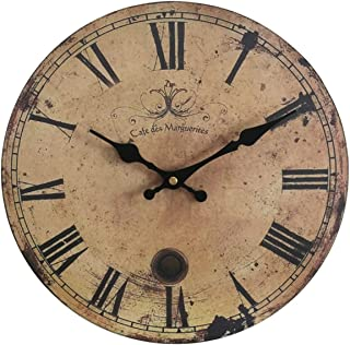 Eruner 16-inch Vintage Wood Wall Clock - France Paris *Cafe des Marguerites* Country Retro Style Non-Ticking Silent Wooden Wall Clock (#09, 16