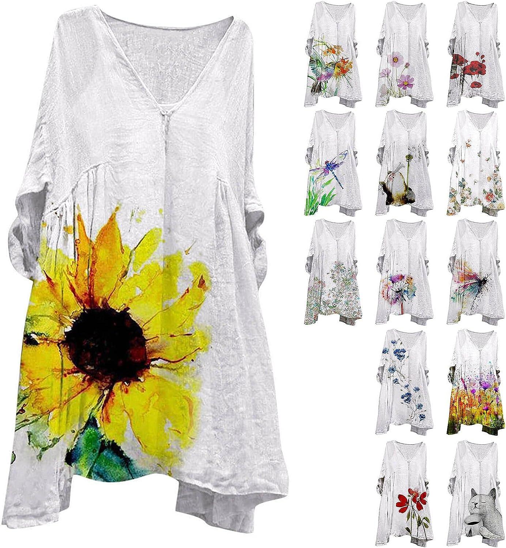 Womens Midi Petite Maxi Dress 3/4 Sleeve Plus Size Low Cut Smock Cover Up Tshirt Hide Tummy Summer