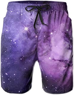 Purple Nebula Space Galaxy Men's Classic Fit Summer Shorts Swim Trunk Quick Dry Casual Summer Beach Shorts With Pockets