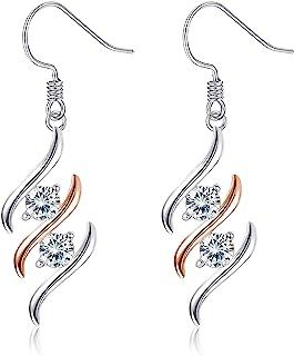 Sllaiss 925 Sterling Silver Dangle Earrings for Women RoseGold Plated Swarovski Cubic Zirconia Double Diamond Wave Fashio...