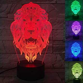 Jinnwell 3D Tiger Lion Night Light Animal Lamp Illusion 7 Color Changing Touch Switch Table Desk Decoration Lamps Perfect Christmas Gift with Acrylic Flat ABS Base USB Cable Toy