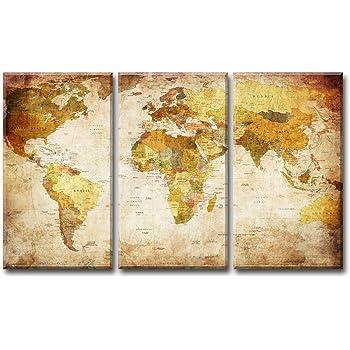 Visario Mapa del Mundo Imagen sobre Lienzo Tres Piezas, de de Pared de imágenes, Marco de Madera y Metal Sistema para Colgar, Beige Vintage, 120 x 80 x 1.0 cm