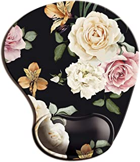Dooke Ergonomic Mouse Pad with Wrist Support, Cute Mouse Pads with Non-Slip Rubber Base for Home Office Working Studying Easy Typing & Pain Relief Rose Flower
