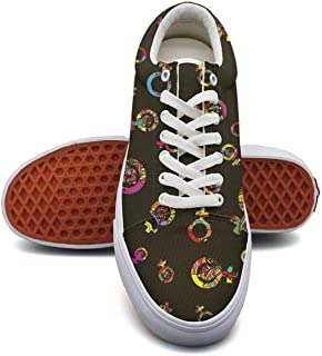 fvnoui Women'sColorful Feminist Logo Power Girl Black Canvas Shoes Low-Cut Straps Comfortable Round Sneakers Suitable for Walking