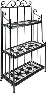 TecTake 800572 - Estantería de Metal Mosaico, 3 Estantes en Mosaico de Piedra, Armazón de Metal curvado - disponible en diferentes colores (Negro-Blanco | No. 402771)