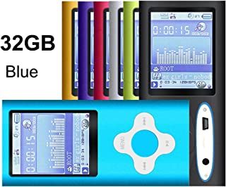 G.G.Martinsen Blue 32GB Versatile MP3/MP4 Player with Photo Viewer, FM Radio and Voice Recorder, Mini USB Port Slim 1.78 L...