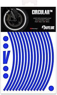 VFLUO CIRCULAR, motorbike retro reflective wheel stripes kit (1 wheel), 3M Technology, 7 mm width, Blue