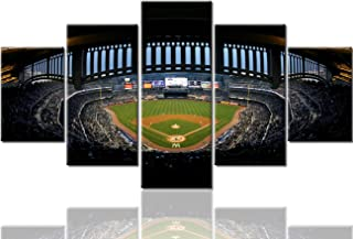 TUMOVO Large Pictures for Living Room 5 Panel Canvas New York Yankee Stadium Paintings Major League Soccer (MLS) Wall Art Home Decor Giclee Wooden Framed Gallery-Wrapped Ready to Hang (60''Wx32''H)