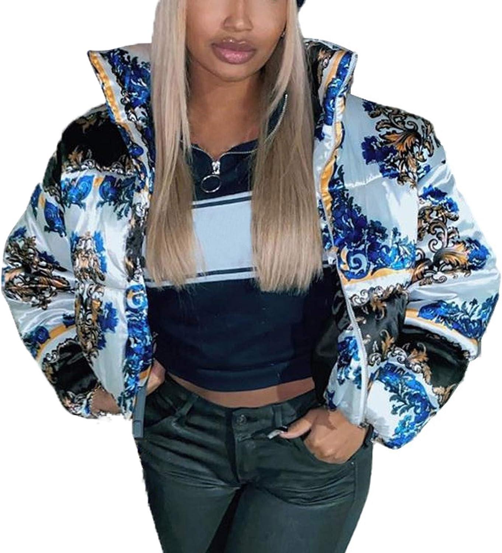Women's Fashion Puffer Jackets Lightweight Stand Collar Vintage Print Winter Coat Warm Zip Down Jacket with Pockets