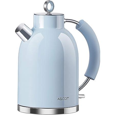 Bouilloire électrique ASCOT en acier inoxydable - 1,6 l - Sans BPA - 2200 W - Arrêt automatique - Design rétro - Petite bouilloire de voyage - Bleu