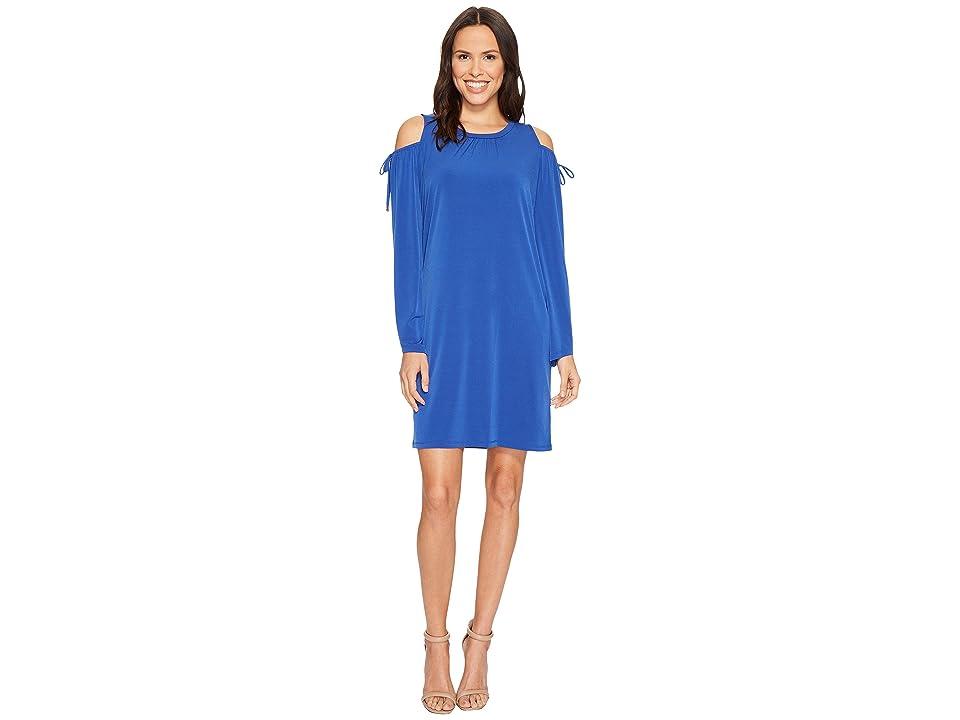 MICHAEL Michael Kors Solid Matte Jersey Cold Shoulder Dress (Bright Royal) Women