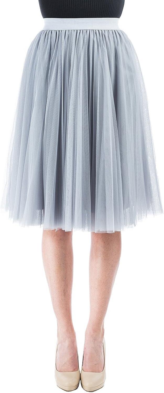 Women Pleated Tulle Skirt with Elastic Waist Skirt