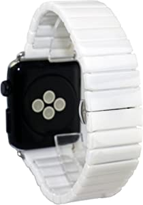 Dahase Compatible for Apple Watch Band, Ceramic Solid Replacement Strap with Stainless Steel Butterfly Buckle Clasp Ceramics Band for iWatch Apple Watch Series 6 5 4 3 2 1 SE All Model 40mm 38mm White