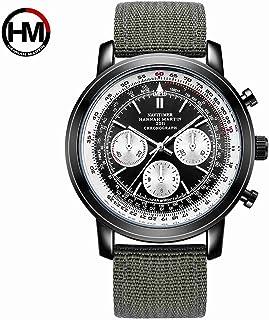 HANNAH MARTIN 日本の時計ムーブメントメンズ/ボーイズパイロット航空クロノグラフミリタリーウォッチクォーツレザーベルト防水時計-モデル HM2001-2002 (ブラウン)