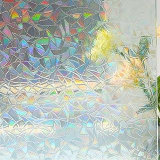 Mikomer 3D Decorative Window Film,Clear Glass Film,Rainbow Effect Door Window Decoration,Static Cling/Vinyl/Heat Control/A...
