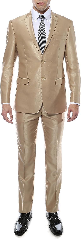 Ferrecci Mens Product Premium Shiny Sharkskin Slim 2pc C - Many New Shipping Free Suit Fit