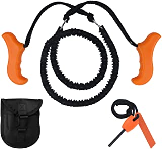 Survival Chainsaw Pocket Hand Saw 25-inch/29-inch Folding Survival Chain Saw Strong Sharp Teeth Camping Hiking Hunting Gardening Outdoor Emergency Includes Fire Starter Carry Pouch