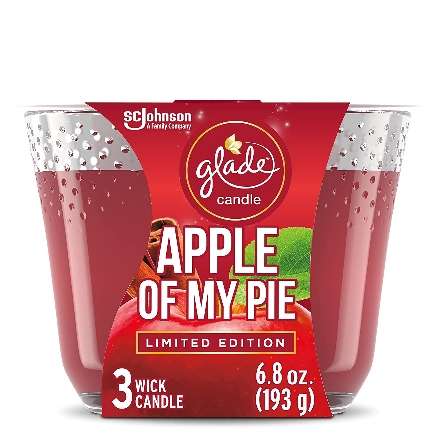 Glade Candle Apple of My Pie, Fragrance Candle Infused with Essential Oils, Air Freshener Candle, 3-Wick Candle, 6.8oz, 3 Count