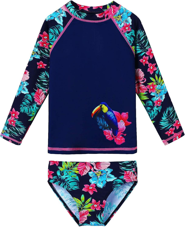 Girls Swimsuit Two Piece Long Sleeve Max 62% OFF UPF Guard Dedication Sun 50+ Set Rash