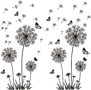 2pcs Pegatinas Pared Vinilos Adhesivos Decorativos Pared Stickers Pared Flores Diente de León y Mariposas para Salón Dormitorio Ventana Habitación