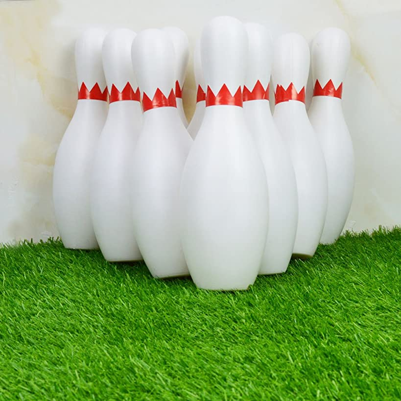 Bowling Set Toy Game 10 Pins 2 Balls Classical Vintage Indoor Plastic Portable Bag 9.5' Pins for Kids Baby Boy Toddlers