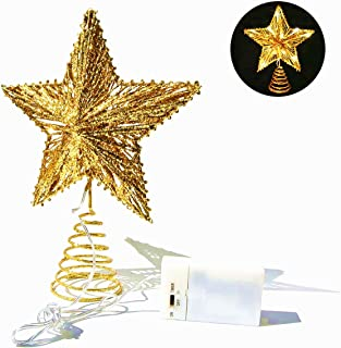 CN CRAFTS 3D Christmas Tree Topper Star, Hollowed-Out Glittered Metal Treetop Star with Timer Warm White LED 10-Lights (Three Functions), 8.5 X 10.5 Inch (Gold)