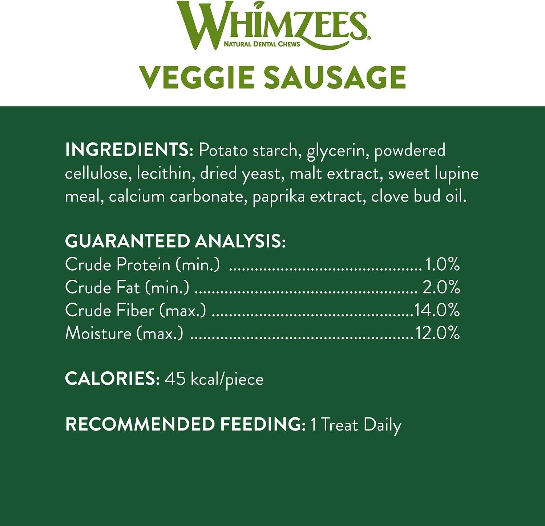 WHIMZEES Natural Grain Free Daily Dental Long Lasting Dog Treats Bag of 28 Small Veggie Sausage