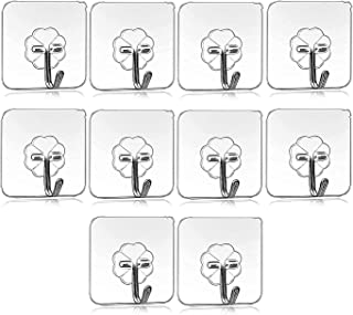 VazzLox 10Pcs Self Adhesive Wall Hooks, Heavy Duty Sticky Hooks for Hanging 10KG (Max), Waterproof Transparent Adhesive Ho...
