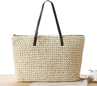 dd42fbfe5db3b8 COIN Stroh Strandtasche mit Reißverschluss Gestrickte Shopper Damen  Korbtasche Schultertasche Sommer Strand Umhängetasche für Frauen Natur