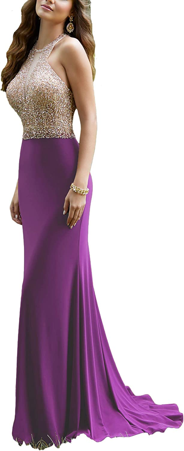 Yisha Bello Women's Crystal Beaded Mermaid Evening Party Dress Long Sleeveless Pro Dress
