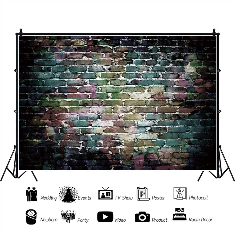 OERJU 12x10ft Vintage Faded Colorful Brick Wall Backdrop Retro Colorful Paint Coating Wall Photography Background Birthday Party Banner Baby Shower Decor Kids Adults Photo Video Shooting Props