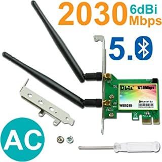 Gigabit WiFi Card, Wireless-AC 9260 Dual Band 2030Mbps(5G-1730Mbps / 2.4G-300Mbps), PCIe WiFi Card, Bluetooth 5.0 Wireless Network Card, PCI-E Wireless WiFi Network Adapter for PC