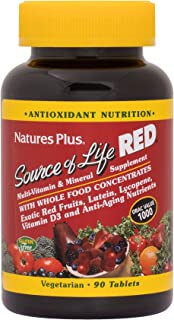 NaturesPlus Source of Life Red Tablets - 90 Vegetarian Tablets - Red Superfood Whole Food Multivitamin, Antioxidant - Anti-Aging Nutrients - Energy Boost - Gluten-Free - 30 Servings