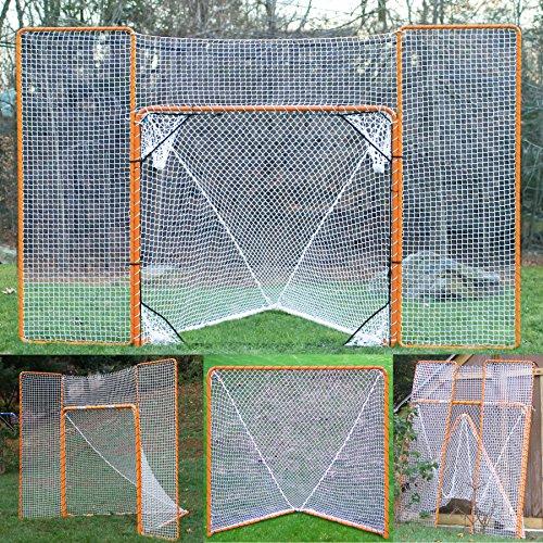 EZGoal Lacrosse Folding Goal with Backstop and Targets, Orange , 6