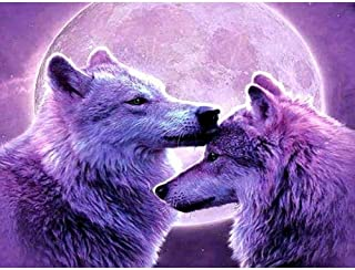DIY 5D Diamond Painting,by Number Kits Crafts & Sewing Cross Stitch,Wall Stickers for Living Room Decoration,Beautiful Wolf(30X40CM/12X16inch)
