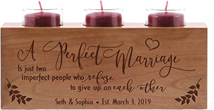 LifeSong Milestones A Perfect Marriage is Just Two Imperfect People Personalized Wedding for Couple Engraved Cherry Wooden Candle Holder
