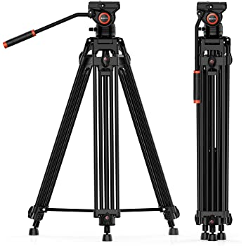Video Tripod System, Geekoto 72 inches Heavy Duty Tripod, Professional Aluminum Twin Tube Tripod, K3 Fluid Head, Mid-Level Spreader, Max Loading 33 LB, 360 Degree Fluid Head for DSLR Camcorder Camera