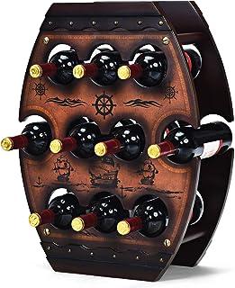 Costway Support/Range Bouteilles de Vin - Contenir Jusqu'à 10 Bouteilles Présentoir de Vin - Style Rétro de Couleur Marron...