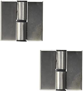 LDEXIN 2pcs Stainless Steel Toilet Self Closing Metal Cover Hard Plastic Restroom Public Toilet Partition Door Surface Mounted Hinge, 70mm x 65mm / 2. 8