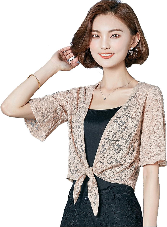 Nimpansa Women Solid Crochet Lace Chiffon Tie Front Daily Shrug Cardigan