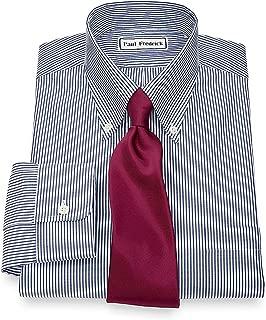 Men's Pinpoint Button Down Collar Button Cuff Dress Shirt