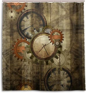 alaza Retro Steampunk Clocks and Gears Shower Curtain Custom Waterproof Fabric Curtain Bathroom Decor 66 x 72 inch with 12 Hooks