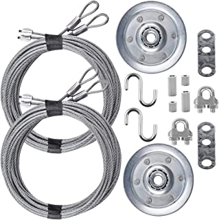 """Garage Door Cable and Pulley Kit Including 2 Pairs of Galvanized Aircraft Cables - 3/32"""" and 1/8"""" Diameter, Two Heavy Duty..."""
