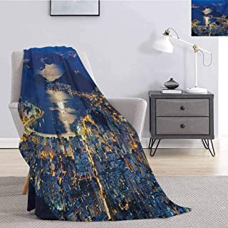 Night Luxury Special Grade Blanket Aerial View of Mountain Sugar Loaf and Botafogo Rio de Janeiro Multi-Purpose use for Sofas etc. W55 x L55 Inch Violet Blue Marigold Pale Grey