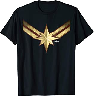 Captain Marvel Gleaming Chest Logo Graphic T-Shirt